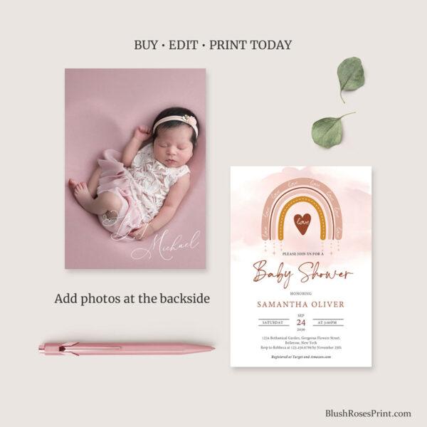 boho baby shower invitation with photo watercolor rainbow