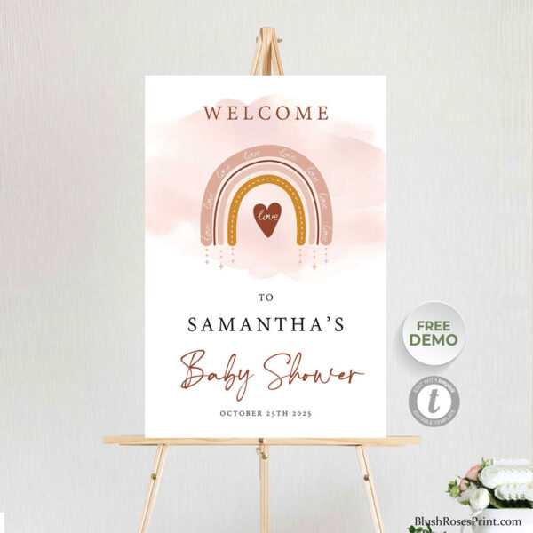 printable baby shower welcome sign large format