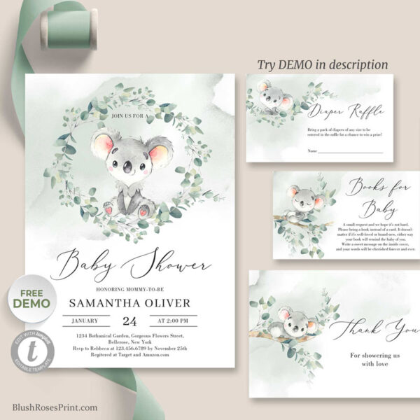koala baby shower invitation template with insert cards