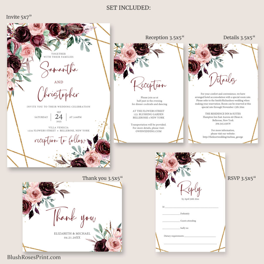wedding pack with rsvp card details card reception card thank you card