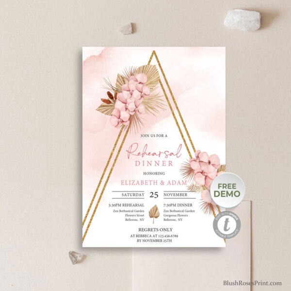 dried palm leaves mixed blush pink orchid flowers and woven into faux gold arch rehearsal dinner invitation
