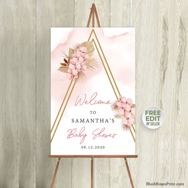 pink and gold arch baby shower welcome sign