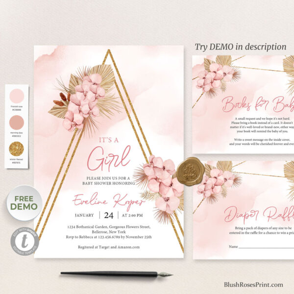 dried-palm-blush-pink-orchid-its-a-girl-baby-shower-invitation-template