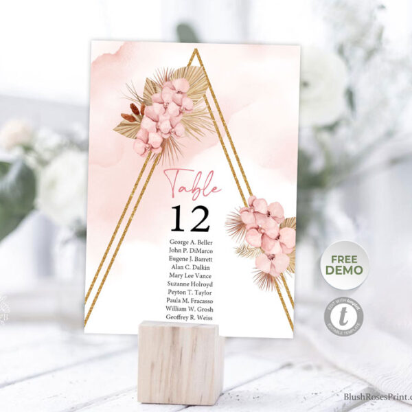 dusty pink orchid table numbers card