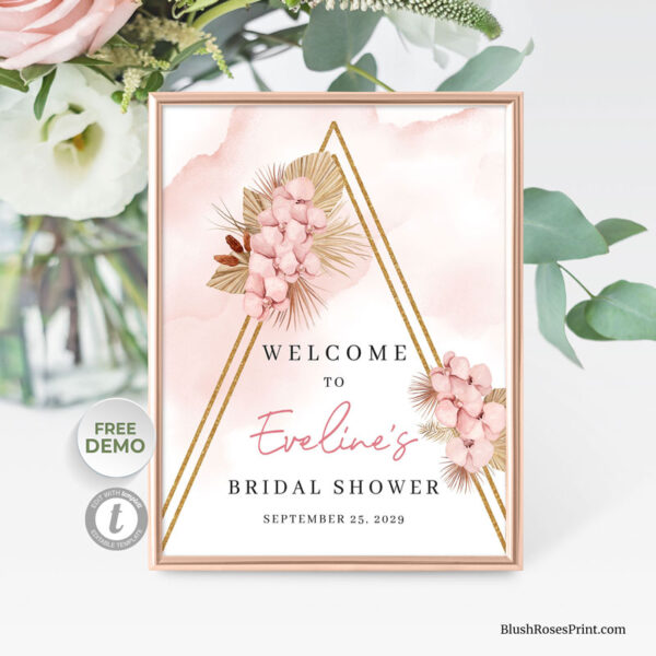 dried-palm-leaves-blush-orchid-gold-arch-welcome-sign
