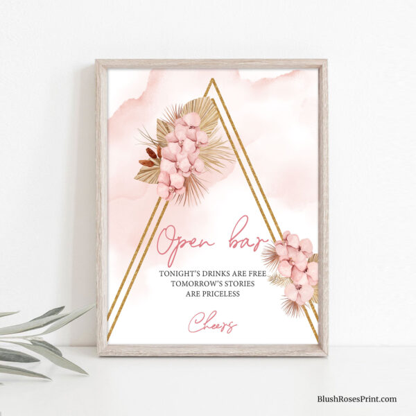 dried-palm-leaves-blush-orchid-gold-geometric-arch-open-bar-sign