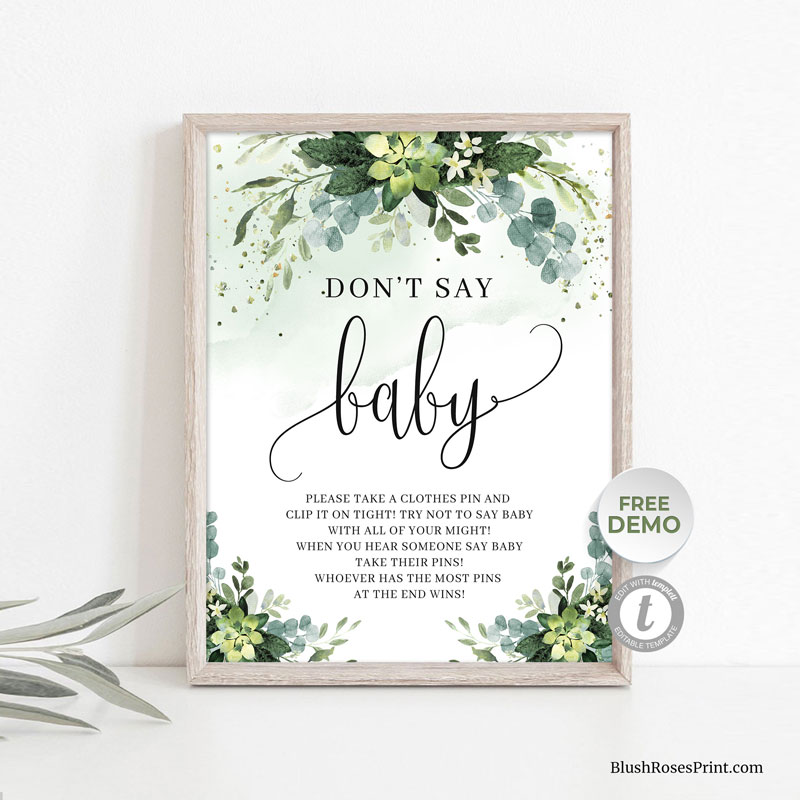 editable-baby-shower-game-greenery-succulent-flowers