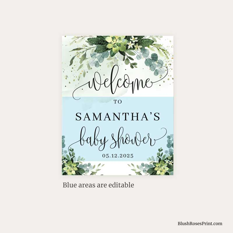 greenery succulent flowers baby shower welcome sign