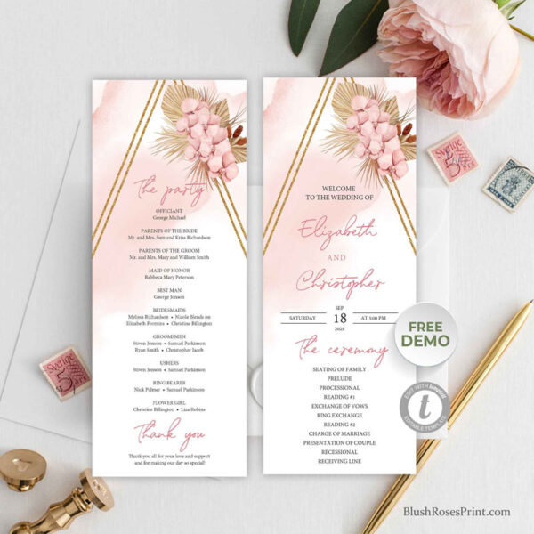 editable-pink-and-gold-wedding-ceremony-program-print