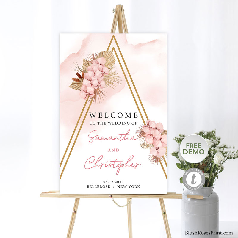 powder pink flowers and dried palm autumn wedding welcome sign