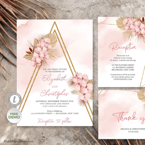 blush pink orchid with dried palm and faux gold geometric frame wedding
