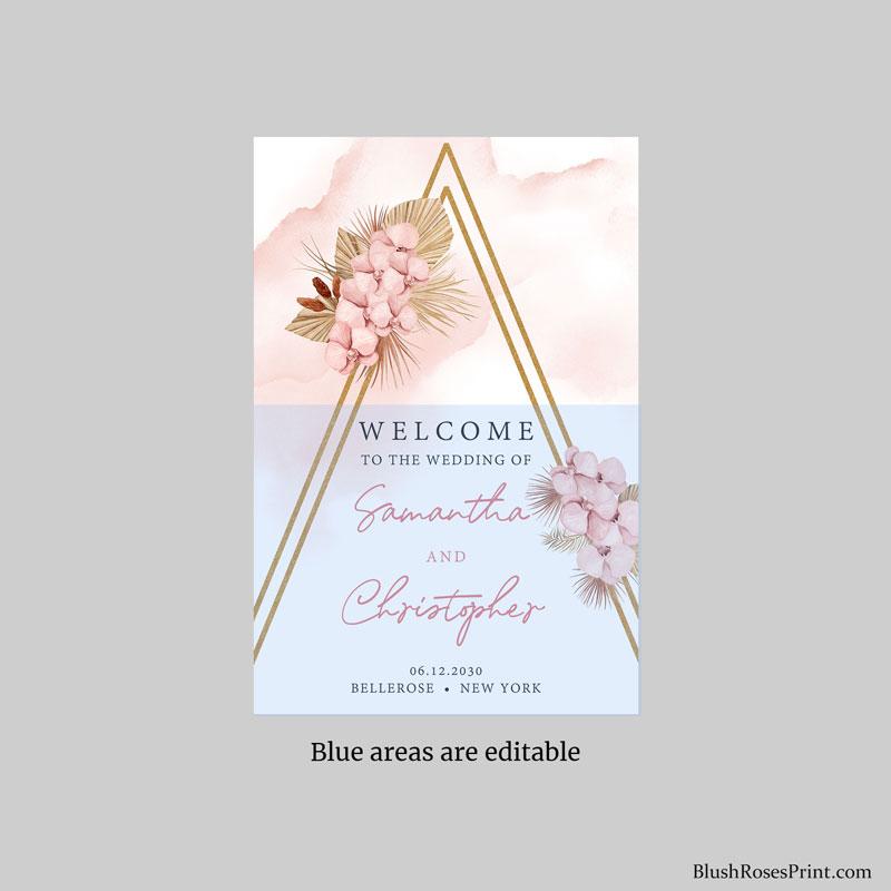 fully editable tropical wedding welcome sign isle printable