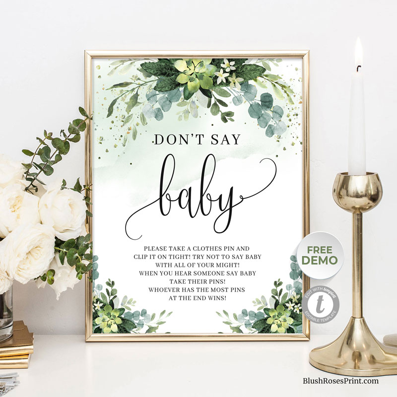 green-flowers-succulent-and-greenery-foliage-dont-say-baby-sign
