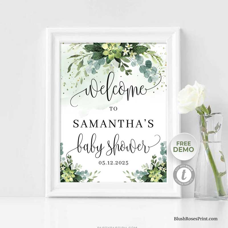 green-succulent-flowers-baby-shower-welcome-sign-template