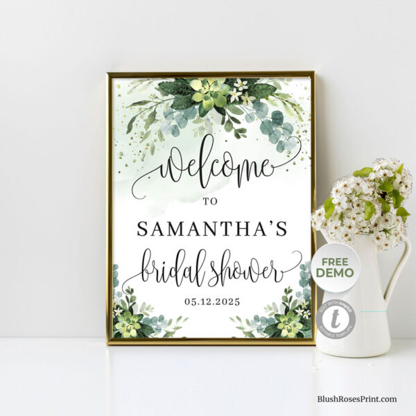 green-succulent-flowers-bridal-shower-welcome-sign-template