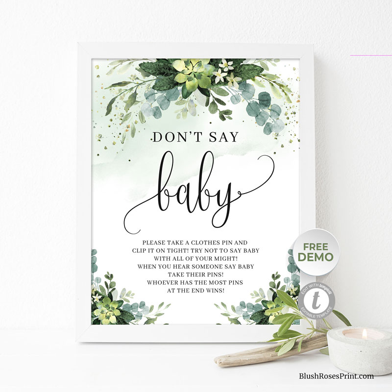 green-succulent-flowers-dont-say-baby-game-sign-template