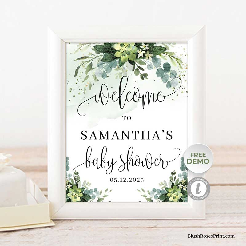 greenery-succulent-flowers-welcome-sign-printable