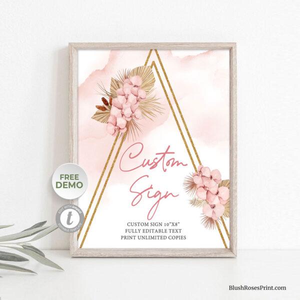 blush flowers gold glitter geometric arch custom sign printable
