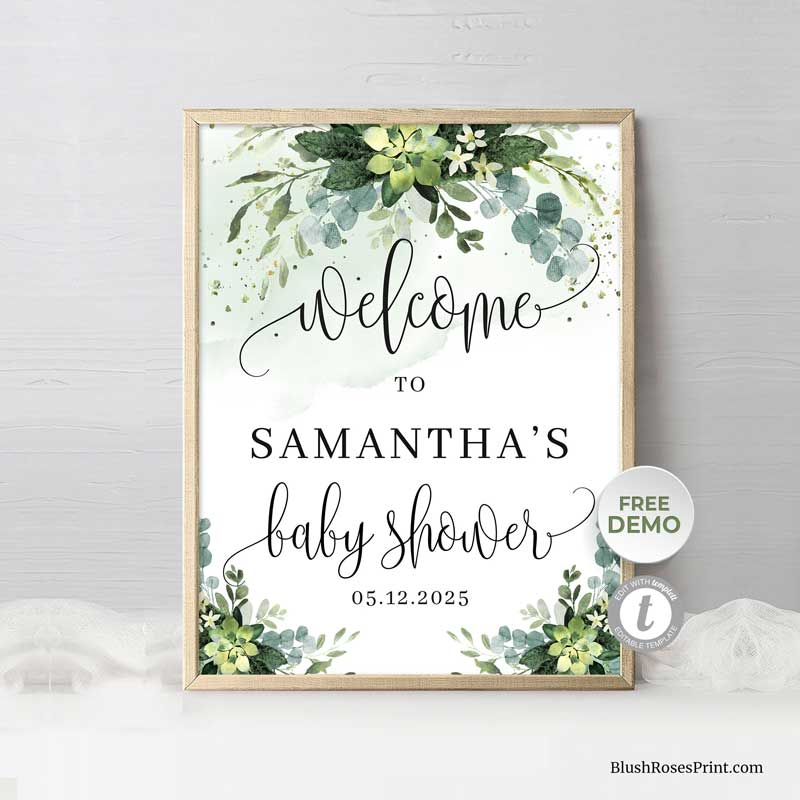 printable-baby-shower-welcome-sign-green-and-gold