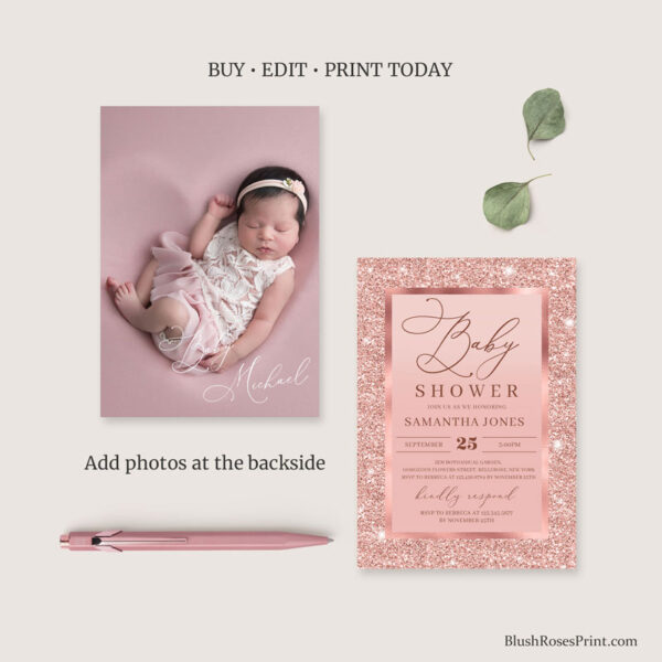 rose gold baby shower invitation with photo