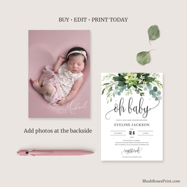 succulent baby shower invitation with photo