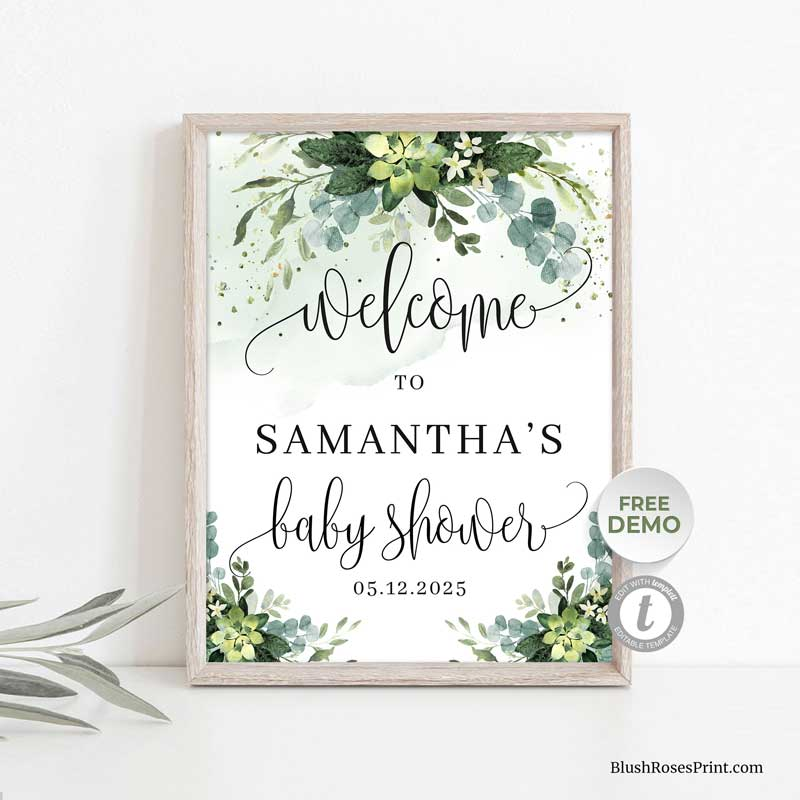 succulent-baby-shower-welcome-sign-template