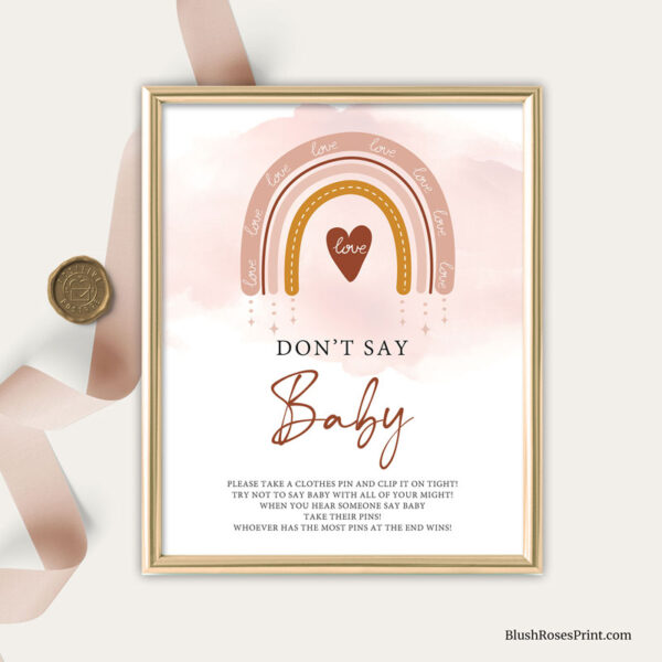dusty pink rainbow dont say baby game sign template