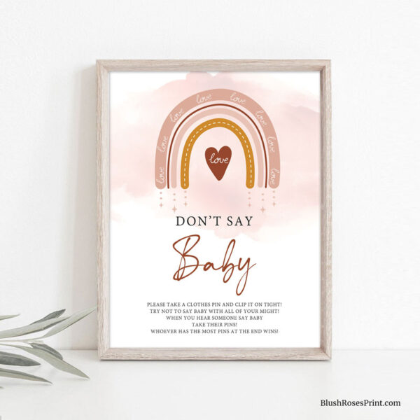 blush pink rainbow don't say baby game sign