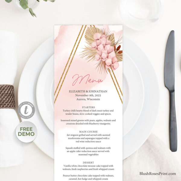 trendy-boho-wedding-menu-with-pink-orchid-and-dried-palm
