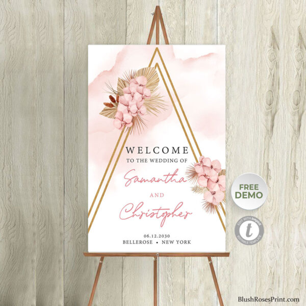 blush pink floral gold arch welcome sign poster