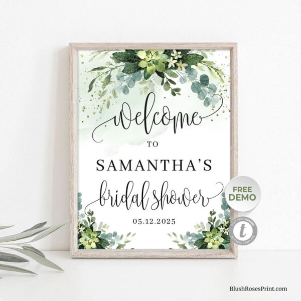 trendy-watercolor-succulent-flowers-bridal-shower-welcome-sign
