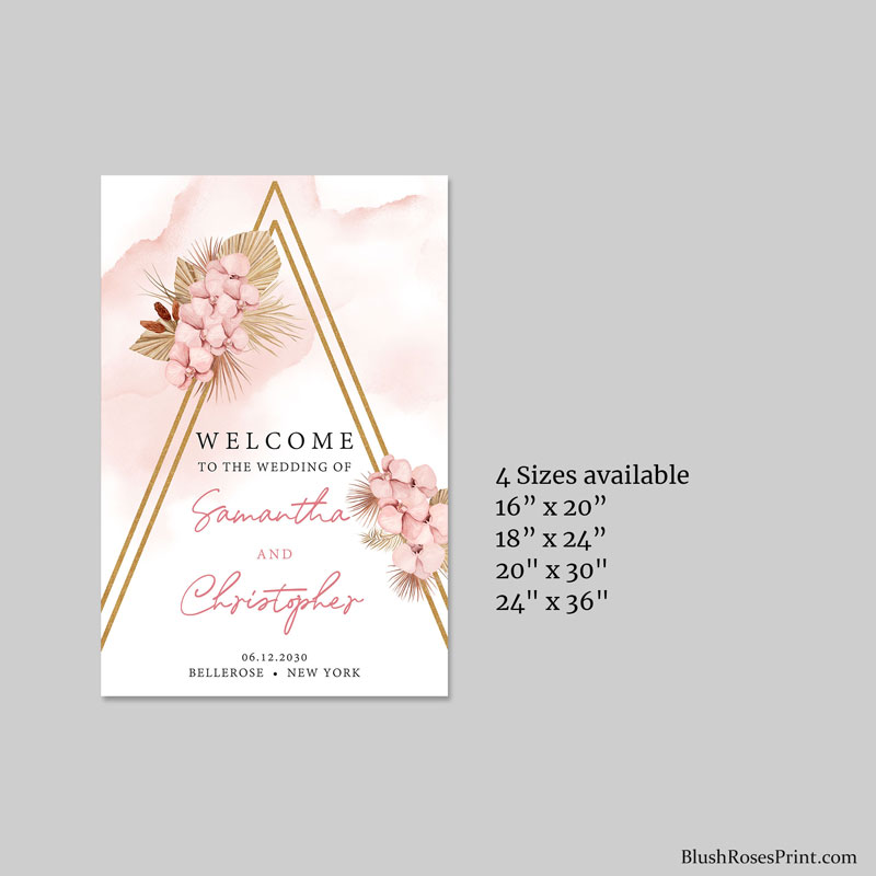 printable wedding welcome sign poster large in boho style