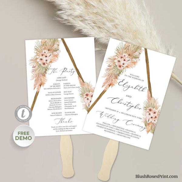 beach-desert-flowers-neutral-earthy-tones-wedding-program-fan