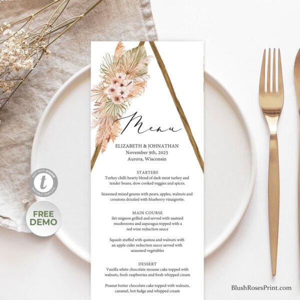 beach-desert-tropical-flowers-dried-palm-wooden-arch-arched-wedding-menu