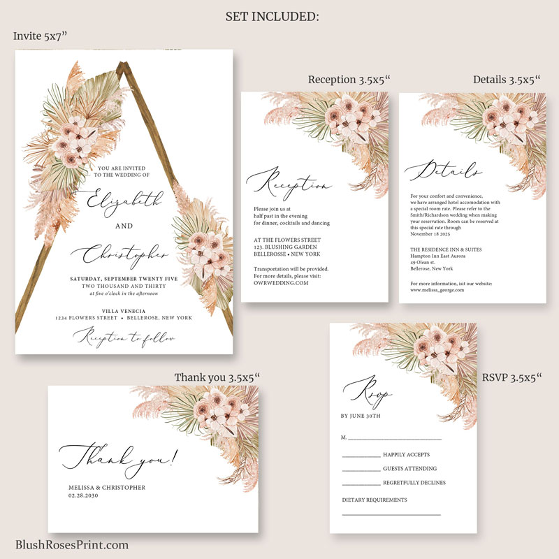 beach-wedding-suite-with-rsvp-details-reception-card