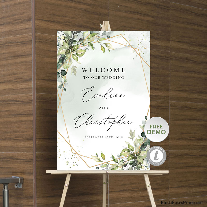 boho-greenery-foliage-gold-geometric-wedding-welcome-sign-template