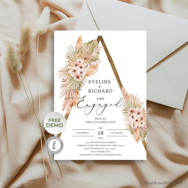 desert-floral-tropical-dried-flowers-rustic-wooden-arch-engagement-invitation