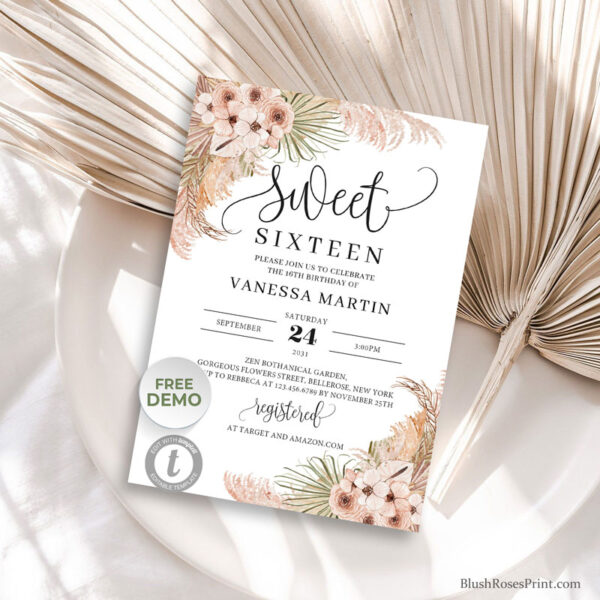 dried-palm-leaves-pampas-grass-dusty-rose-dusty-pink-orchid-16th-birthday-invite