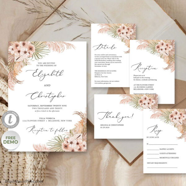 dried-palm-leaves-pampas-grass-reeds-dusty-pink-rose-bluh-orchid-wedding-invitation