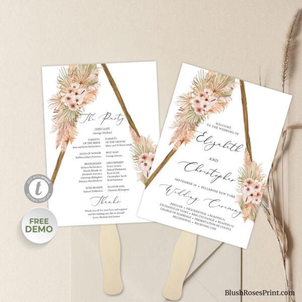 dried-palm-pampas-grass-dusty-orchid-wedding-program-fan