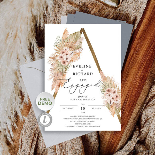 dried-palm-pampas-grass-dusty-rose-orchid-wooden-arch-engagement-invitation