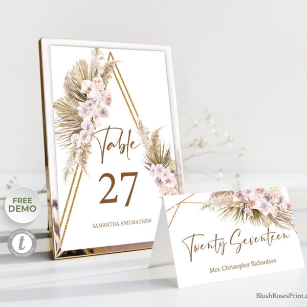 dried-palm-pampas-grass-tropical-flowers-gold-arch-table-number-template