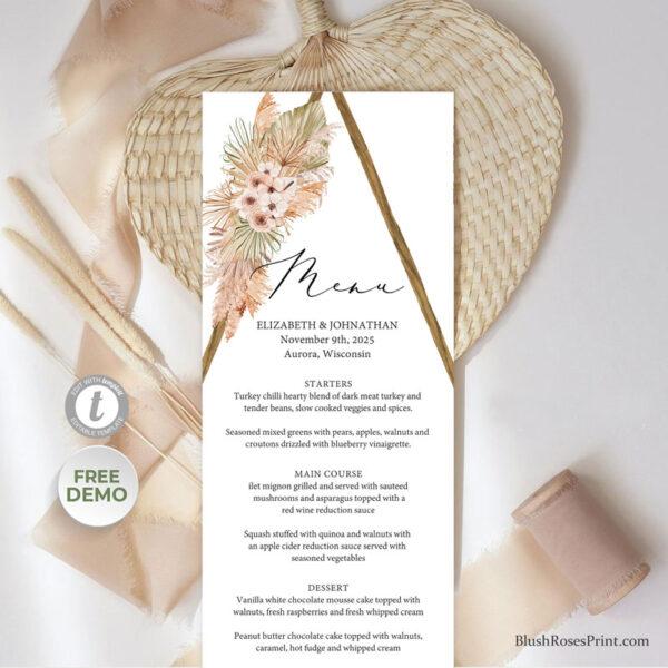 dried-palm-pampas-grass-wooden-arch-wedding-menu-template