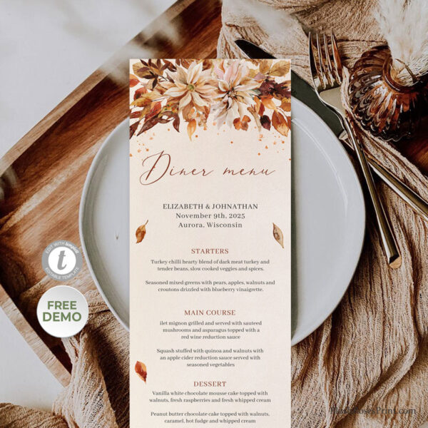 rust-wedding-dinner-menu-template-edit-yourself-and-print-today