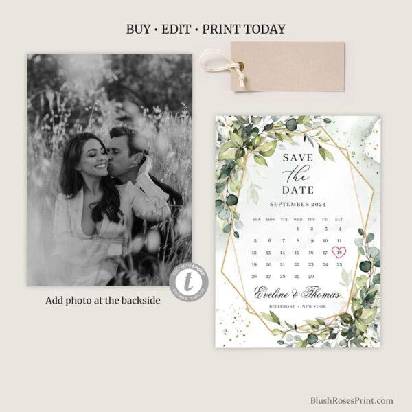 save-the-date-card-with-photo-boho-greenery