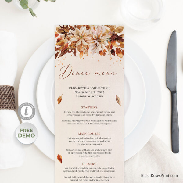 trendy-boho-burnt-orange-autumn-flowers-and-leaves-dinner-menu-template