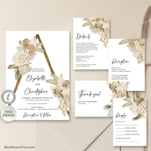 trendy-boho-dried-palm-leaves-white-orchid-rustic-arch-wedding-invitation
