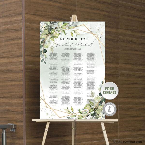 trendy-boho-green-and-gold-wedding-seating-chart-printable