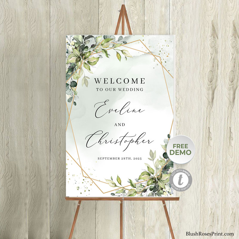 trendy-boho-green-and-gold-wedding-welcome-isle-porch-sign