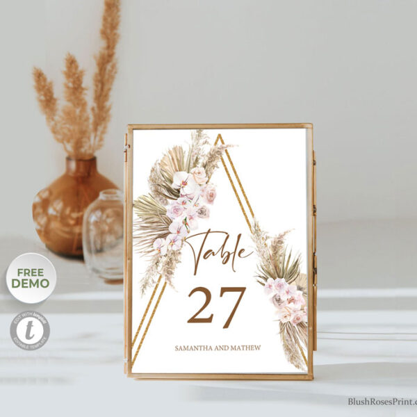 trendy-boho-rusric-wedding-table-number-dried-palm-pampas-grass